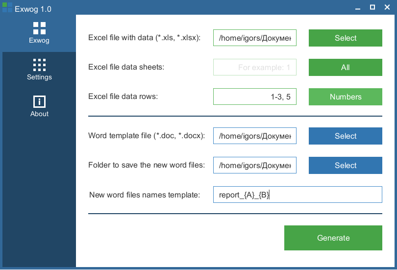 Exwog - from Excel to Word files generator by template
